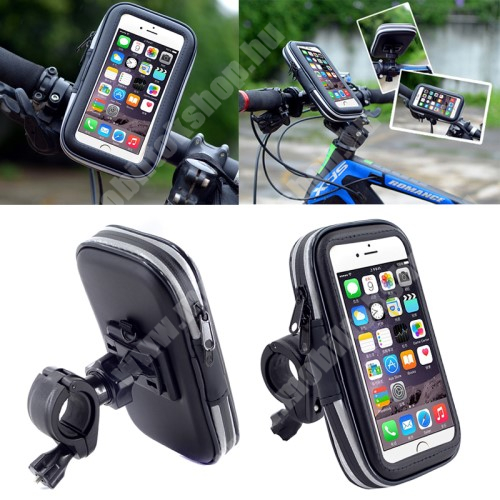 APPLE iPhone X UNIVERZÁLIS biciklis / kerékpáros tartó konzol mobiltelefon készülékekhez - 152 x 75 mm-es bölcső, cseppálló védő tokos kialakítás - FEKETE