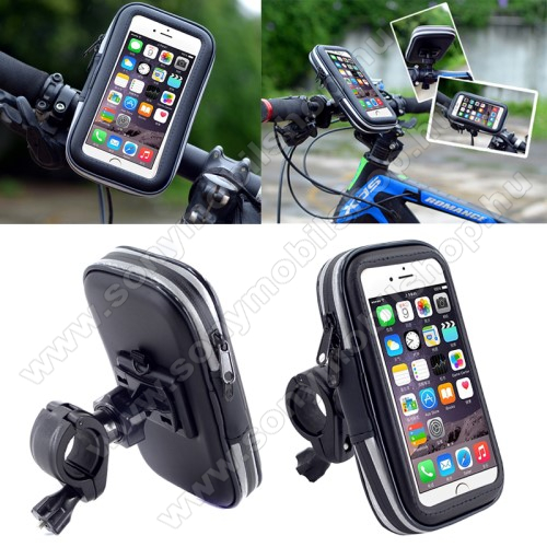 SONY Xperia L2UNIVERZÁLIS biciklis / kerékpáros tartó konzol mobiltelefon készülékekhez - 152 x 75 mm-es bölcső, cseppálló védő tokos kialakítás - FEKETE
