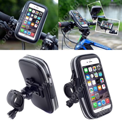 HUAWEI Honor 9 UNIVERZÁLIS biciklis / kerékpáros tartó konzol mobiltelefon készülékekhez - 152 x 75 mm-es bölcső, cseppálló védő tokos kialakítás - FEKETE