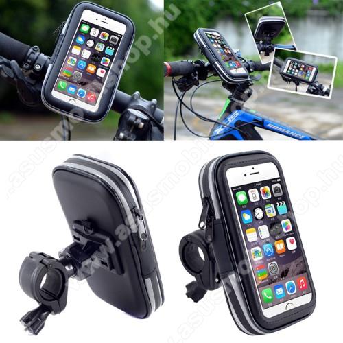 ASUS Zenfone 3 (ZE520KL)UNIVERZÁLIS biciklis / kerékpáros tartó konzol mobiltelefon készülékekhez - 152 x 75 mm-es bölcső, cseppálló védő tokos kialakítás - FEKETE