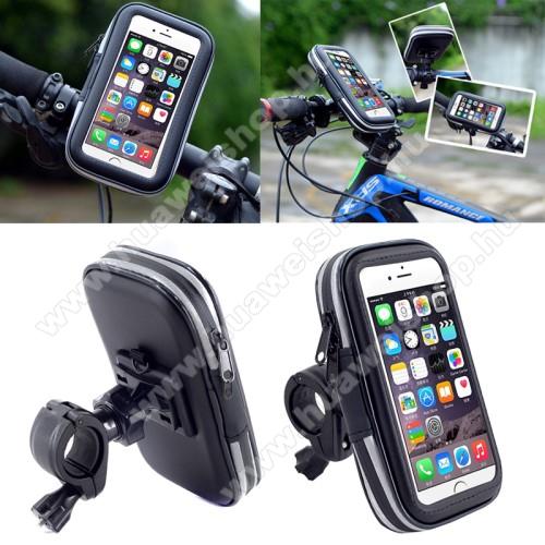 HUAWEI Honor 8SUNIVERZÁLIS biciklis / kerékpáros tartó konzol mobiltelefon készülékekhez - 152 x 75 mm-es bölcső, cseppálló védő tokos kialakítás - FEKETE