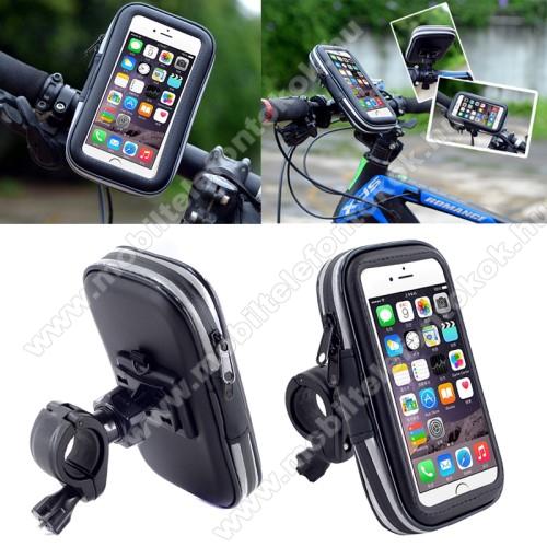 UNIVERZÁLIS biciklis / kerékpáros tartó konzol mobiltelefon készülékekhez - 152 x 75 mm-es bölcső, cseppálló védő tokos kialakítás - FEKETE