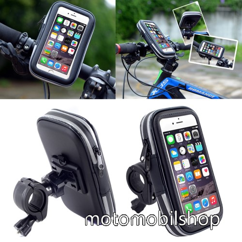 MOTOROLA Moto G5 Plus UNIVERZÁLIS biciklis / kerékpáros tartó konzol mobiltelefon készülékekhez - 152 x 75 mm-es bölcső, cseppálló védő tokos kialakítás - FEKETE