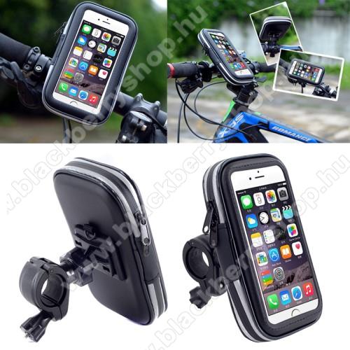 BLACKBERRY KeyoneUNIVERZÁLIS biciklis / kerékpáros tartó konzol mobiltelefon készülékekhez - 152 x 75 mm-es bölcső, cseppálló védő tokos kialakítás - FEKETE