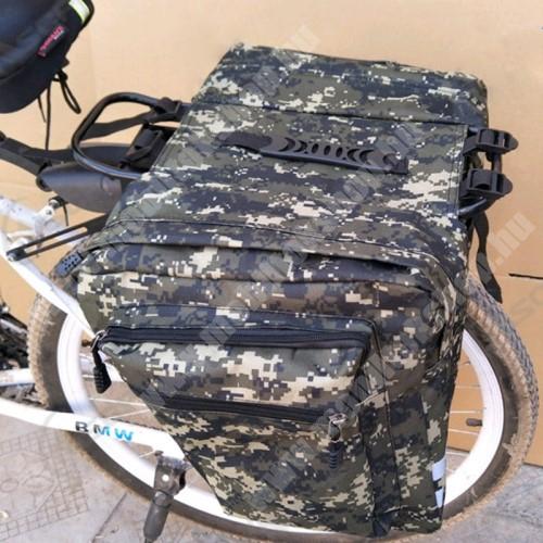 PRESTIGIO MultiPad 8.0 PRO DUO UNIVERZÁLIS biciklis / kerékpáros táska / hátsó csomagtartó - vízálló anyag, cipzár, több fakkos, fényvisszaverő csíkok, 290 x 300mm oldalanként - TEREPMINTÁS ZÖLD