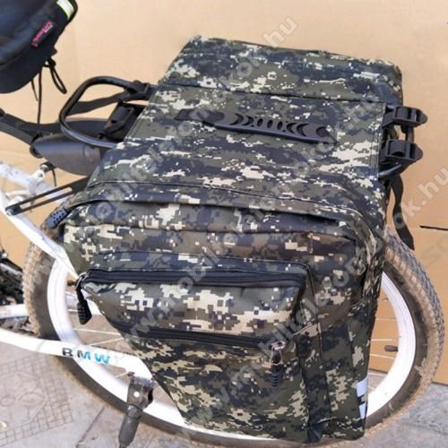 UNIVERZÁLIS biciklis / kerékpáros táska / hátsó csomagtartó - vízálló anyag, cipzár, több fakkos, fényvisszaverő csíkok, 290 x 300mm oldalanként - TEREPMINTÁS ZÖLD