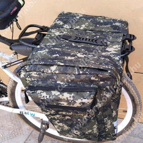 ACER Iconia Tab 8 A1-840FHD UNIVERZÁLIS biciklis / kerékpáros táska / hátsó csomagtartó - vízálló anyag, cipzár, több fakkos, fényvisszaverő csíkok, 290 x 300mm oldalanként - TEREPMINTÁS ZÖLD