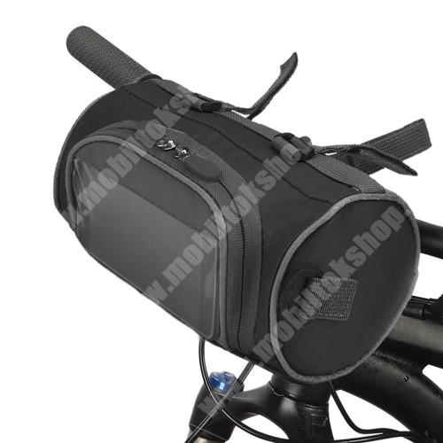 PRESTIGIO MultiPad 8.0 PRO DUO UNIVERZÁLIS biciklis / kerékpáros táska - vízálló anyag, kormányra rögzíthető, cipzár, több fakkos, telefontartó ablak, gyorskioldó, levehető, vállpánt, 220 x 120 x 120 mm - FEKETE