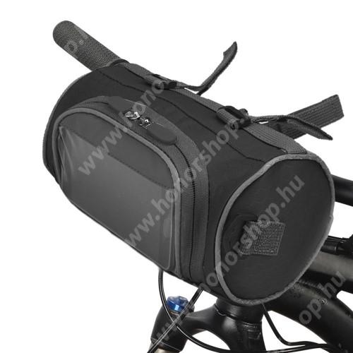 HUAWEI Honor V40 5G UNIVERZÁLIS biciklis / kerékpáros táska - vízálló anyag, kormányra rögzíthető, cipzár, több fakkos, telefontartó ablak, gyorskioldó, levehető, vállpánt, 220 x 120 x 120 mm - FEKETE