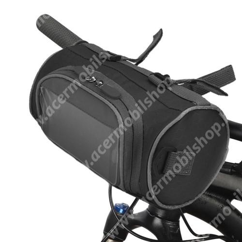 ACER Iconia Tab 8 A1-840FHD UNIVERZÁLIS biciklis / kerékpáros táska - vízálló anyag, kormányra rögzíthető, cipzár, több fakkos, telefontartó ablak, gyorskioldó, levehető, vállpánt, 220 x 120 x 120 mm - FEKETE