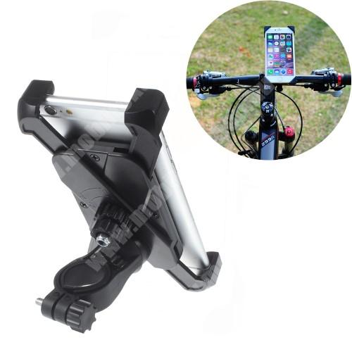PHILIPS W8510 UNIVERZÁLIS biciklis / motoros / kerékpáros tartó konzol mobiltelefon készülékekhez - 360°-ban forgatható, hossz: 115-180mm-ig, szélesség: 58-90mm-ig nyíló bölcsővel, max 12mm-es vastag készülékhez, 22-35mm-es átmérőjű kormányra alkalmas - FEKETE