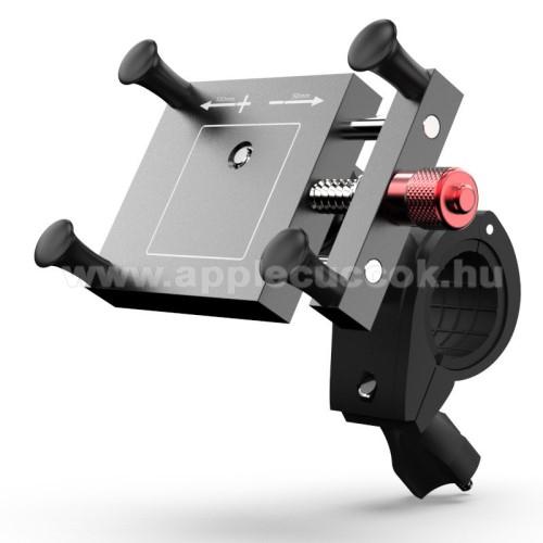 UNIVERZÁLIS biciklis / motoros tartó konzol mobiltelefon készülékekhez - FEKETE - alumínium, elforgatható, 67 ~ 117 mm-ig állítható bölcső
