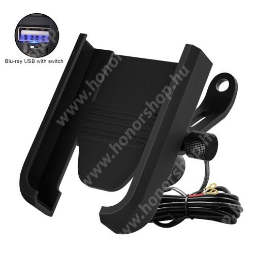 HUAWEI Honor V40 5G UNIVERZÁLIS biciklis / motoros tartó konzol mobiltelefon készülékekhez - 360°-ban forgatható, 55-95mm-ig állítható bölcső, max 8mm vastag készülékekhez, USB töltő aljzat 135cm hosszú beépítő kábel, 5V/2A - FEKETE