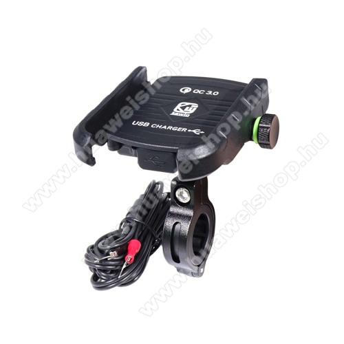 UNIVERZÁLIS biciklis / motoros tartó konzol mobiltelefon készülékekhez - 360°-ban forgatható, kormányra rögzíthető, állítható bölcsővel, USB töltő aljzattal 1,5m hosszú beépítő kábel, 5V/18W (max.), 3.5-7
