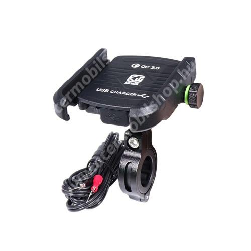 """ACER Liquid Z110UNIVERZÁLIS biciklis / motoros tartó konzol mobiltelefon készülékekhez - 360°-ban forgatható, kormányra rögzíthető, állítható bölcsővel, USB töltő aljzattal 1,5m hosszú beépítő kábel, 5V/18W (max.), 3.5-7""""-os készülékekhez - FEKETE"""