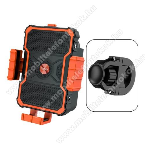 UNIVERZÁLIS biciklis / motoros tartó konzol mobiltelefon készülékekhez - FEKETE / NARANCSSÁRGA - 360°-ban forgatható, kormányra rögzíthető, 3.5-7