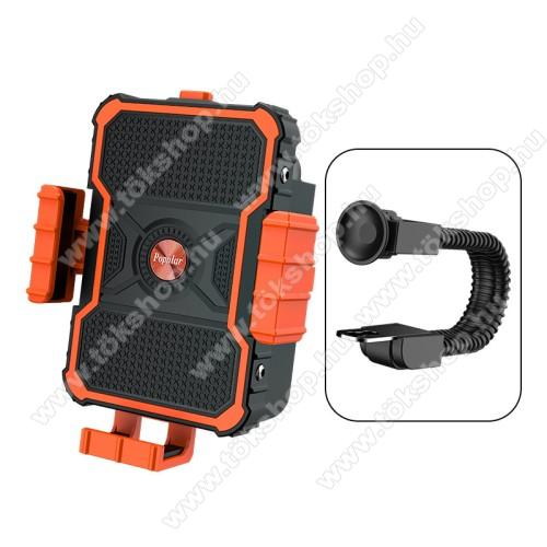 UNIVERZÁLIS biciklis / motoros tartó konzol mobiltelefon készülékekhez - FEKETE / NARANCSSÁRGA - 360°-ban forgatható, 3.5-7