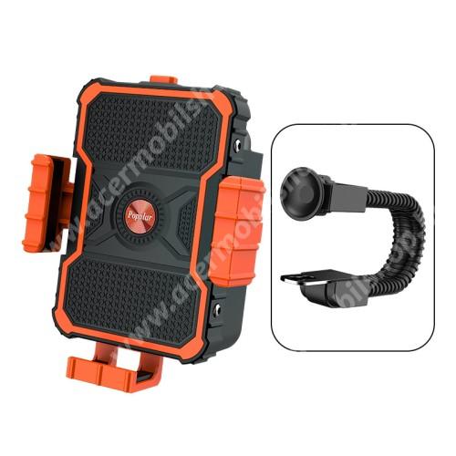 """ACER Liquid Z3 UNIVERZÁLIS biciklis / motoros tartó konzol mobiltelefon készülékekhez - FEKETE / NARANCSSÁRGA - 360°-ban forgatható, 3.5-7""""-os készülékekhez ajánlott"""