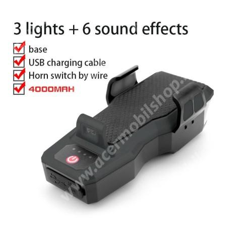 ACER Liquid Z3 UNIVERZÁLIS biciklis tartó konzol mobiltelefon készülékekhez - 4 az 1-ben, powerbank / tartó / duda / LED lámpa - 4000mAh beépített akku, IPX4 cseppálló, USB port, állítható fényerő, 5 hanghatás, 130 decibel, 55-90mm-ig nyíló bölcső, kormányra rögzíthető