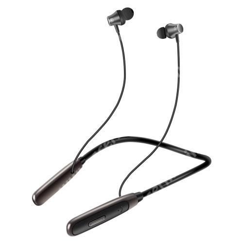 UNIVERZÁLIS BLUETOOTH fülhallgató SZTEREO - v5.0, nyakba akasztható, mikrofon, felvevő és hangerőszabályzó gombok, mágneses, zajszűrő, cseppálló, max. 26 óra zenehallgatási idő, 220mAh beépített akkumulátor - FEKETE