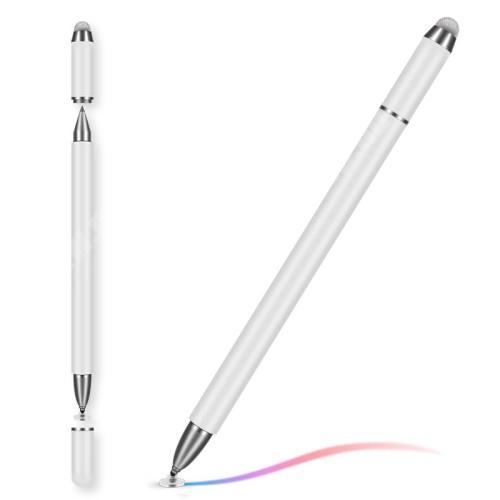 UNIVERZÁLIS érintőképernyő ceruza 3 az 1-ben - kapacitív kijelzőhöz, érintőpárnával és érintőtányérral + golyós tollal, mágneses kupak, KÉZÍRÁSRA, RAJZOLÁSRA ALKALMAS - FEHÉR