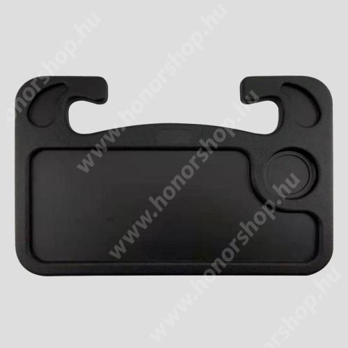HUAWEI Honor V40 5G UNIVERZÁLIS étkezőasztal / laptop tartó / tálca autóba - kormányra rögzíthető, pohártartó, 560g, 425 x 285 x 25 mm - FEKETE