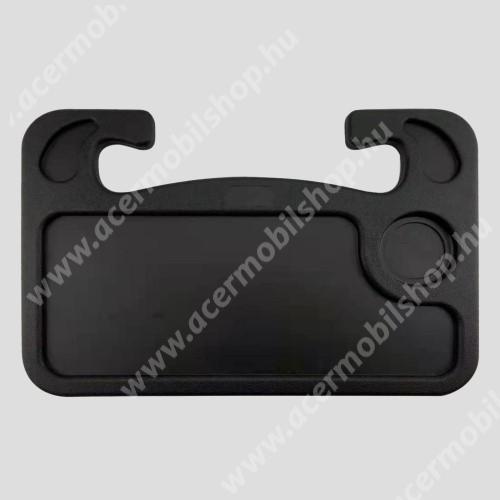 ACER Liquid Z3 UNIVERZÁLIS étkezőasztal / laptop tartó / tálca autóba - kormányra rögzíthető, pohártartó, 560g, 425 x 285 x 25 mm - FEKETE