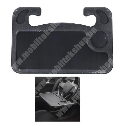 PRESTIGIO MultiPad 8.0 PRO DUO UNIVERZÁLIS étkezőasztal / laptop tartó / tálca autóba - kormányra rögzíthető, pohártartó, ceruzatartó, 560g, 425 x 285 x 25mm - FEKETE