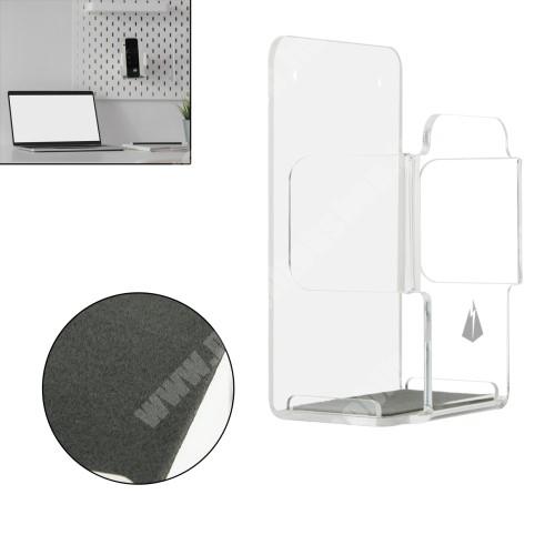 LG G4c (H525N) UNIVERZÁLIS fali távirányító tartó / állvány - akril, falra fúrható vagy ragasztható, 114 x 70 x 47mm - ÁTLÁTSZÓ