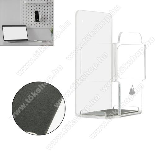 UNIVERZÁLIS fali távirányító tartó / állvány - akril, falra fúrható vagy ragasztható, 114 x 70 x 47mm - ÁTLÁTSZÓ