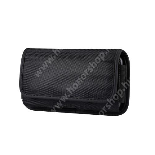 HUAWEI Honor 8 Premium UNIVERZÁLIS fekvő tok - cseppálló oxford szövet, tépőzáras záródás, övre fűzhető, gumis, bankkártyatartó zseb - 145 x 75 x 18mm - FEKETE