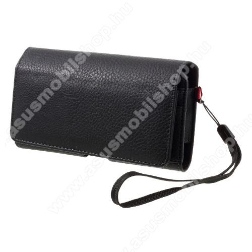 ASUS ROG Phone (ZS600KL)UNIVERZÁLIS fekvő tok - FEKETE - övre fűzhető, övcsipesz, mágnespatent, csuklópánt, bankkártyatartó, EXTRA! két fakkos, 2 x 160 x 83 x 10mm