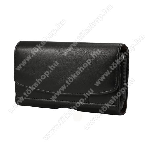 UNIVERZÁLIS fekvő tok - mágneses, övre fűzhető, övcsipesz, gumis, bankkártyatartó zseb - 175 x 87 x 18mm - FEKETE