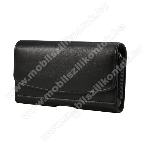 UNIVERZÁLIS fekvő tok - mágneses, övre fűzhető, övcsipesz, gumis, bankkártyatartó zseb - 175 x 87 x 18mm - 6,3-6,9