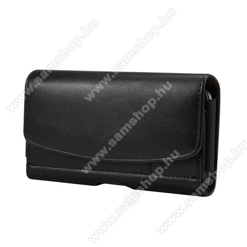 SAMSUNG Galaxy Note9 (SM-N960F/U/X)UNIVERZÁLIS fekvő tok - mágneses, övre fűzhető, övcsipesz, gumis, bankkártyatartó zseb - 175 x 87 x 18mm - FEKETE