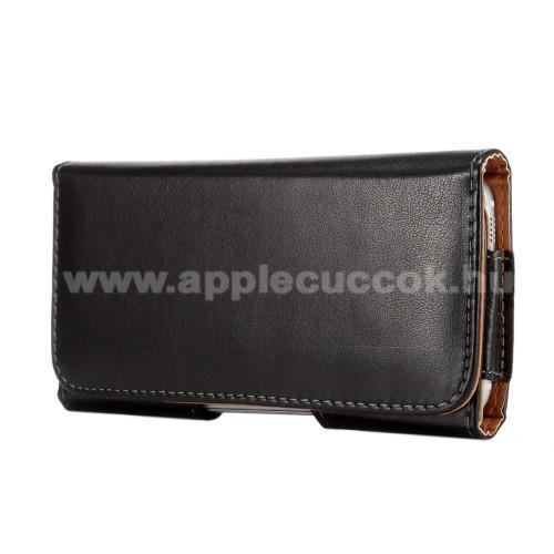 APPLE iPhone 11 ProUniverzális fekvő tok - mágneses, övre fűzhető, övcsipesz, SAMSUNG SM-G920 Galaxy S6 méret - 145 x 73 x 15mm - FEKETE