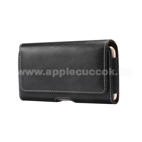 APPLE iPhone XUNIVERZÁLIS fekvő tok - mágneses záródás, övre fűzhető, gumis - max 148 x 75 x 18mm méretű készülékekhez - FEKETE