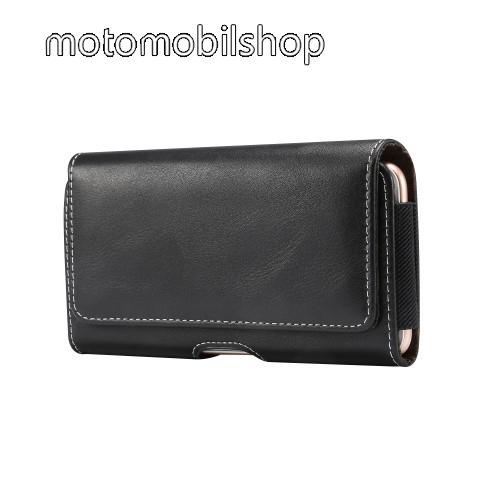 """Motorola Moto E6 Plus UNIVERZÁLIS fekvő tok - mágneses záródás, övre fűzhető, gumis - 155 x 80 x 18mm - 5,5""""-os készülékekhez - FEKETE"""