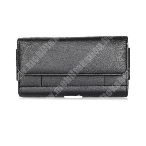 ARCHOS 60 Platinum UNIVERZÁLIS fekvő tok - mágnespatent, övre fűzhető, övcsipesz, gumis, bankkártyatartó zseb - 170 x 95 x 40mm - FEKETE