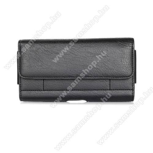 SAMSUNG Galaxy Note9 (SM-N960F/U/X)UNIVERZÁLIS fekvő tok - mágnespatent, övre fűzhető, övcsipesz, gumis, bankkártyatartó zseb - max 170 x 95 x 20mm-es készülékekig használható - FEKETE