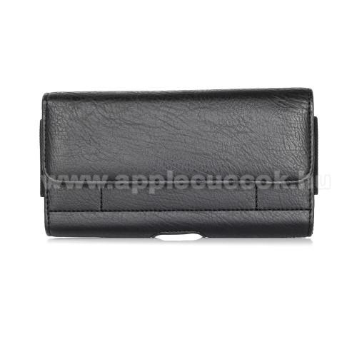 APPLE iPhone XS MaxUNIVERZÁLIS fekvő tok - mágnespatent, övre fűzhető, övcsipesz, gumis, bankkártyatartó zseb - 170 x 95 x 40mm - FEKETE