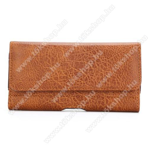UNIVERZÁLIS fekvő tok - mágnespatent, övre fűzhető, övcsipesz, gumis, bankkártyatartó zseb - max 170 x 95 x 20mm-es készülékekig használható - BARNA