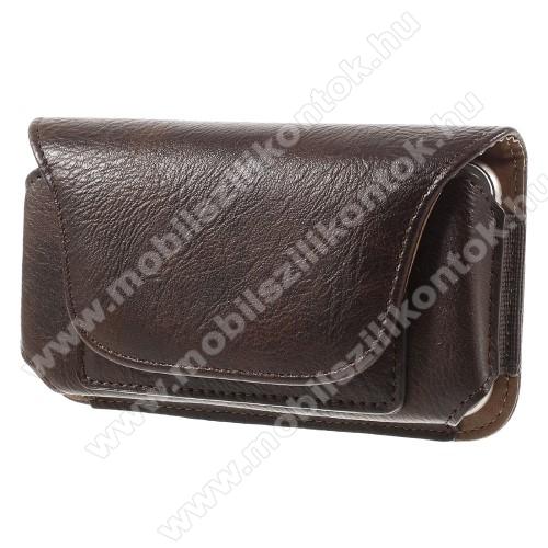 UNIVERZÁLIS fekvő tok - övre fűzhető, övcsipesz, bankkártya tartó, mágnes patent - 165 x 80 x 10mm - BARNA