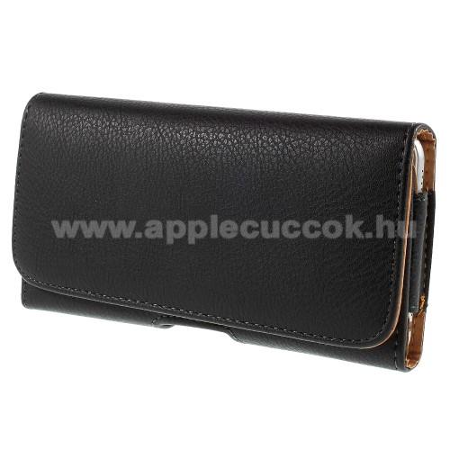 APPLE iPhone 8 PlusUNIVERZÁLIS fekvő tok - övre fűzhető, övcsipesz, gumis, mágnes záródás - 165 x 79 x 10mm - FEKETE