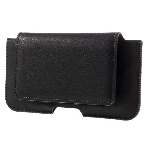 UNIVERZÁLIS fekvő tok - övre fűzhető, övcsipesz, mágnespatent, bankkártya tartó zseb - 135 x 70 x 10mm - FEKETE