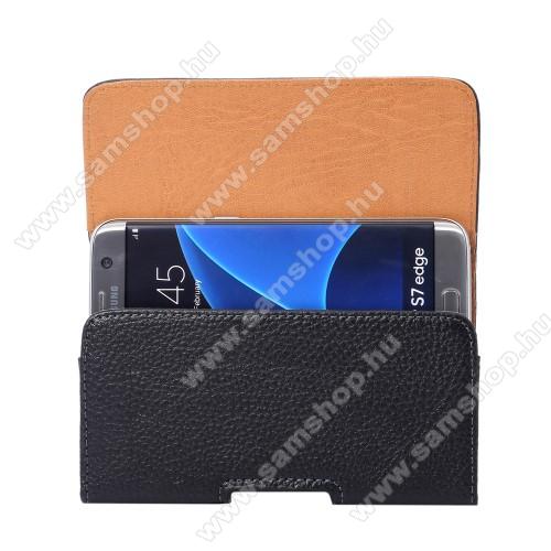 SAMSUNG Galaxy Note4 (SM-N910C)UNIVERZÁLIS fekvő tok - övre fűzhető, övcsipesz, mágnes záródás - 155 x 80 x 18mm - FEKETE