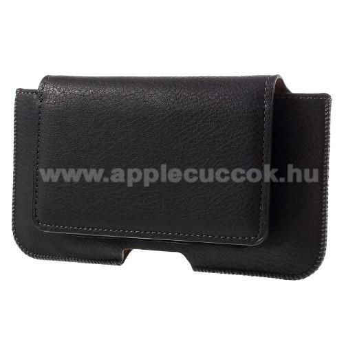 APPLE iPhone 8 PlusUNIVERZÁLIS fekvő tok - övre fűzhető, övcsipesz, mágnespatent, bankkártyatartó - 160 x 80 x 10mm - FEKETE