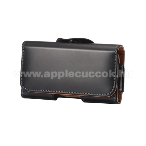 APPLE iPhone SEUNIVERZÁLIS fekvő tok - övre fűzhető, övcsipesz, mágnes záródás - 125 x 60 x 8mm - FEKETE
