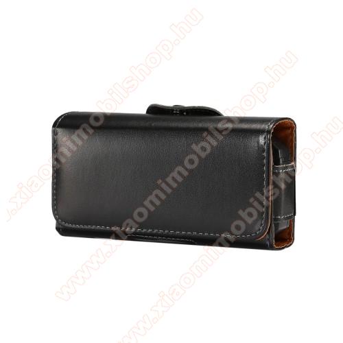 Xiaomi MI-1sUNIVERZÁLIS fekvő tok - övre fűzhető, övcsipesz, mágnes záródás - 130 x 6.6 x 22mm - FEKETE