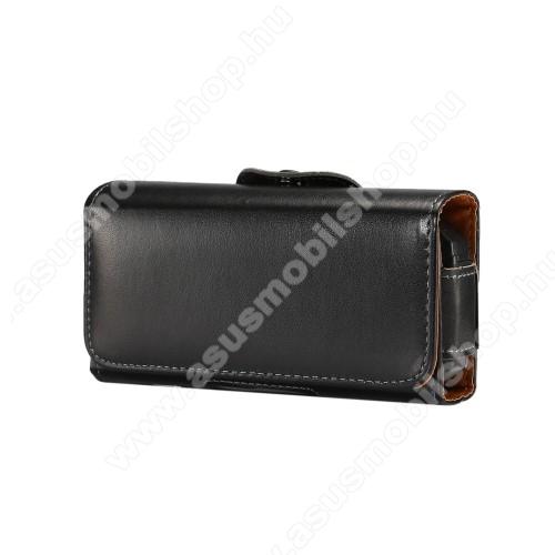 ASUS PadFone miniUNIVERZÁLIS fekvő tok - övre fűzhető, övcsipesz, mágnes záródás - 130 x 6.6 x 22mm - FEKETE
